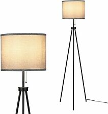 Tomshin-e LED Tripod Floor Lamp Standing Tall Lamps with Grey Cylinder Shade and