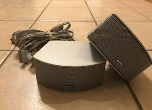 Pair Bose 321 Cinemate Series I II III GS GSX Gemstone Speakers Silver w/ Cable