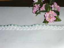 """5 Yards 5/8"""" Lace, White with Pastel Green Satin Ribbon Woven In"""