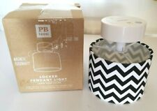 "Pottery Barn Teen 4.5"" Black White Chevron Print Magnetic Locker Pendant Light"