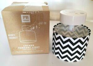 Pottery Barn Teen 4.5in Black White Chevron Print Locker Pendant Light Magnetic