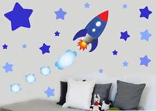 Para Niños Cohete Nave Espacial & Estrellas-calcomanías de pared calcomanías Nave Espacial Sky