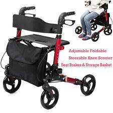 ELENKER Euro Style Seat & Back Folding Rollator Walker Four Wheel Drive Medical