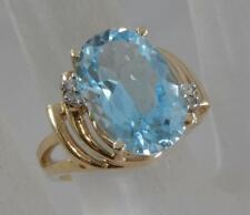 Estate 10 Karat Yellow Gold Blue Topaz & Diamond Cocktail Ring Sz 6.75 10K F1160
