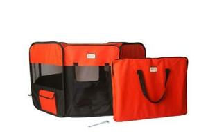 Portable Pet Playpen for Dogs & Cats with Carrying Bag Medium Red/Black