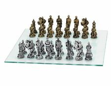 """15"""" Medieval Knight Chess Game Set Glass Board 3 3/4"""" King Gold & Silver New"""
