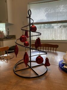 Christmas Ornament Tree Shaped Stand And Ornaments
