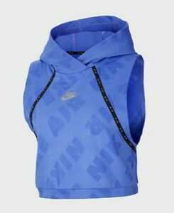 Nike Air Blue Hooded Cropped Running Vest Tank Top  CJ2146-500- BNWT Size Small