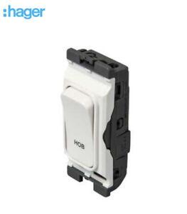 "Hager Sollysta Grid Module 20A DP switch white marked ""Hob"" WMGSDP2/HB"