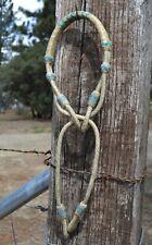 Jose Ortiz 8 Plait Natural Rawhide Indian Hackamore Turquoise Details - Bitless