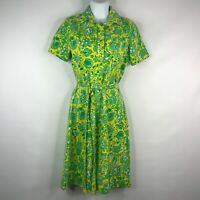 Vintage 70s Lilly Pulitzer Yellow Green Ocean Sea Life Belted Shirt Dress Size S