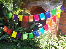 balinese 24 plain prayer flags banner bunting small 4 mtr mixed rainbow colours