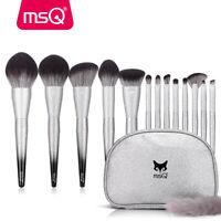MSQ 13pcs Silver Makeup Brush Set Powder Blending Eyebrow Lip Brushes + Bag/Case