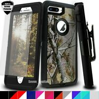 For iPhone 7 / 7 Plus 8 Plus Defender Case Cover Rugged Shockproof w/ Belt Clip