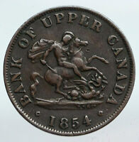 1854 UPPER CANADA Antique UK Queen Victoria HALF PENNY BANK TOKEN Coin i90246