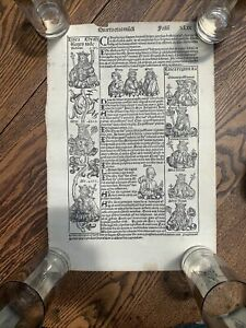 1493 AD Nuremberg Chronicle Incunabula BABYLONIA Schedel, 2 Side Woodcut ANCIENT