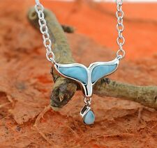 Larimar Whale Tail Necklace-Sterling Silver-Larimar Jewelry,Whale Tail,Ocean,Sky