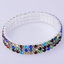 Gorgeous Silver plated Stretch Bracelet Tennis crystal Wristband Wide 10mm