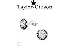 925 Sterling Silver Round Clear studs earrings swarovski elements