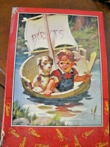 Vintage Fairco Jigsaw Puzzle, Boy Sailing w Dog, Complete, 'Little Pirates'