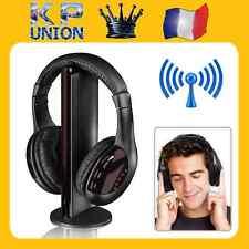 CASQUE AUDIO POUR PC 5 EN 1 SANS FIL ECOUTEURS Hi-Fi RADIO FM TV MP3 MP4 * 48h
