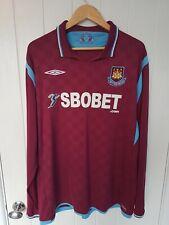 West Ham United Long Sleeve Home Football Shirt Jersey 2009/10 XXL RARE