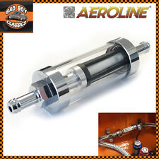 """Chrome & Real Glass Inline Fuel Petrol Filter 1/4"""" / 6mm Fits MG"""