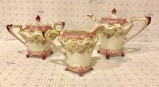 Three Piece Tea Set Marked R.S. Prussia Including Teapot Creamer and Sugar