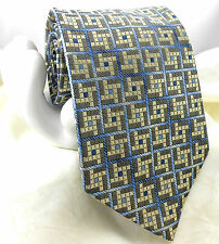 "Van Heusen Men's Silk Tie Light Yellow Gray & Blue Small Check 3 7/8""x 59"""
