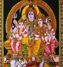 Wandbehang Bild  Shiva Family  Indien ganesh thangka Wandbild Tapestry  4
