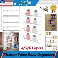 4/5/6 Tier Kitchen Door Wall Mount Storage Shelf Cabinet Organizer Spice Rack US