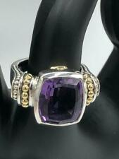 Lagos Caviar $1,250 Sterling Silver 18K Gold Amethyst Ring - Size 8 - MINT!
