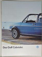schöner VW Volkswagen Golf 1 Cabriolet Prospekt 07/1986