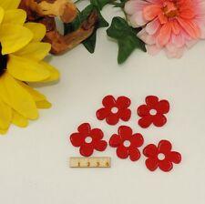 5 Blumen Filz rot 4cm Basteln Karten Geburtstag Frühling Scrapbooking Restposten