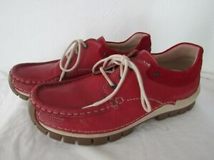 Wolky Walking Shoes Women's 41/9.5-10 Red Leather Moc Toe Lace-Up