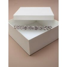 NEW Silver vintage plated crystal and flower tiara wedding bride boxed prom