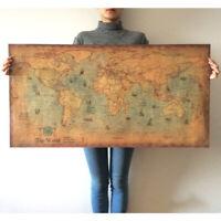 Paper Painting Retro Old Vintage World Map Nautical Ocean Kraft Wall Sticker