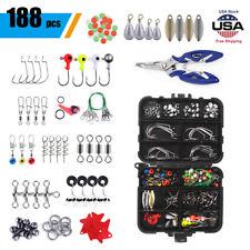 188pc Fishing Accessories Kit W/ Fishing Swivels Hooks Sinker Weights Tackle Box