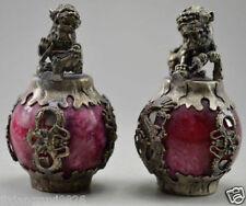 Collectible Decor Old Jade & Tibet Silver Kylin Dragon Phoenix Pair Statue