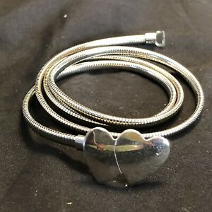 """VTG 80s Silver Skinny Stretch Elastic Belt 31.5-36.5"""" Double Heart Made In USA"""
