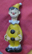 "Clown Coin Bank w Stopper 9-3/4"" Tall Vintage Hong Kong Full body Character wHat"