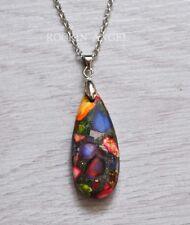 Rainbow Sea Sediment Jasper & Pyrite Teardrop Pendant Chain Necklace Reiki Gift