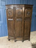 Antique Oak Carved Gothic Double Wardrobe Armoire Compactum Arts & Crafts #L