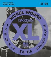 D'Addario EXL115 Electric Guitar Strings Nickel 11-49 Medium