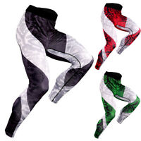 Mens Sport Compression Tights Running Training Basketball Gym Long Pants Dry fit