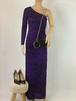 Jane Norman Purple Animal Print Party Cocktail Dress One Shoulder Size 8