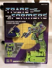 TRANSFORMERS G1 DECEPTICON CONSTRUCTICON BONECRUSHER MOSC! US SELLER VERY RARE!