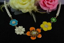 GOLD TONE  ENAMEL PEARL DIAMANTE FLOWER FAUX PEARLS MULTI NECKLACE
