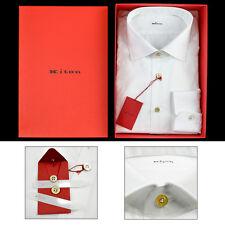 NIB Mens KITON White Extrafine Cotton Spread Collar Dress Shirt 17 1/2 XL 44