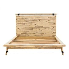 "88.5"" Rustic Queen Bed One of a Kind Hand Crafted Acacia Wood Metal Accents"